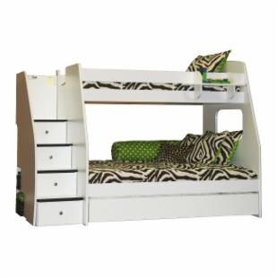 Enterprise Twin over Full Bunk Bed with Trundle - White