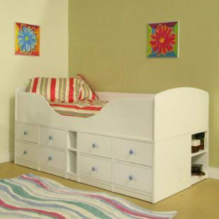 Sierra High Frame Jr. Captains Bed - White
