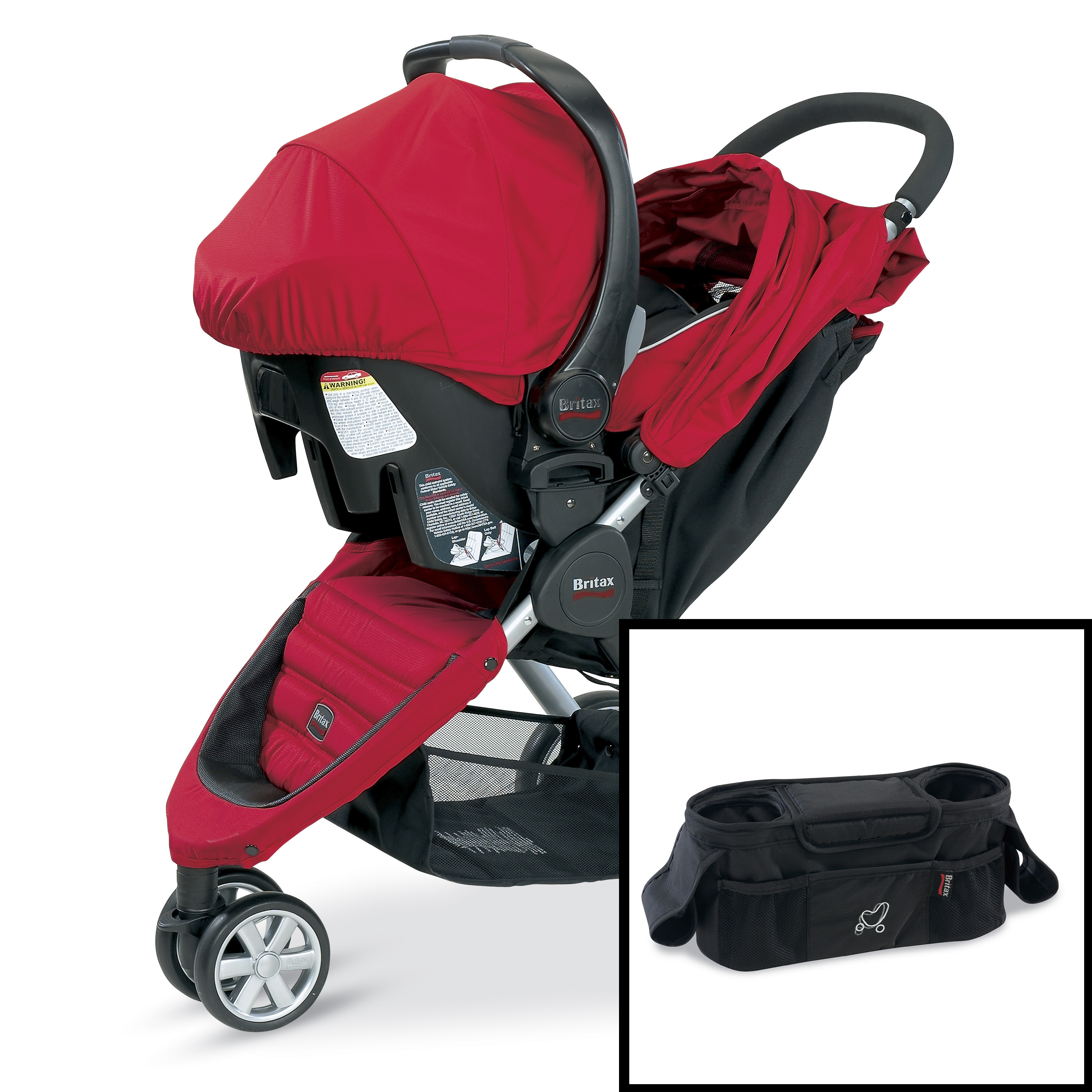 britax b agile red travel system with free stroller organizer at hayneedle. Black Bedroom Furniture Sets. Home Design Ideas