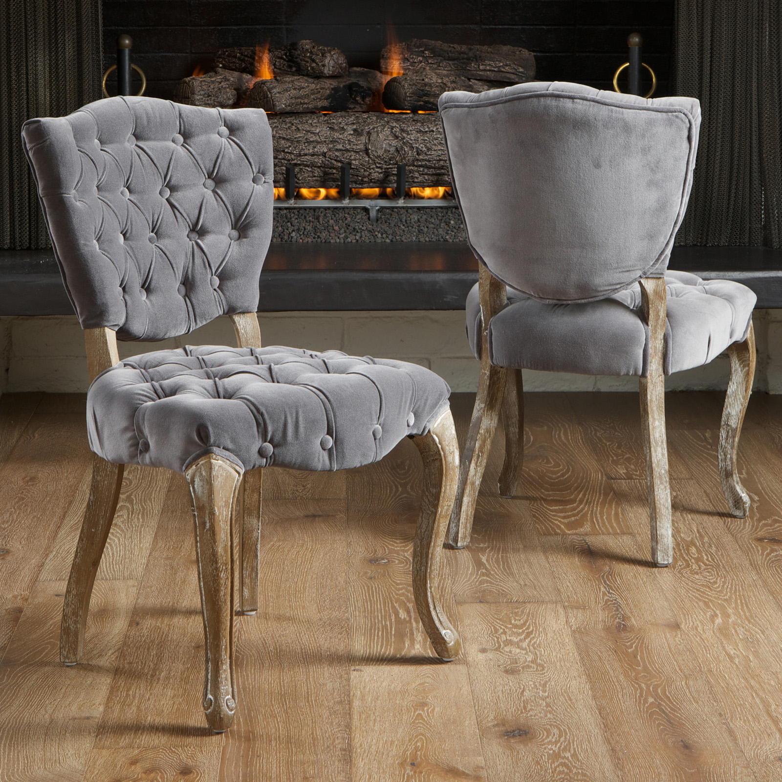 tufted grey fabric dining chairs 2 pack dining chairs at hayneedle