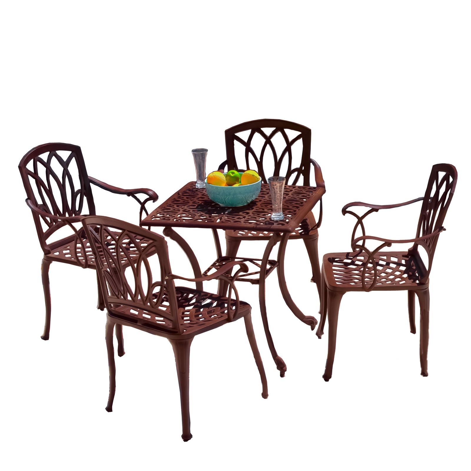 Cast Aluminum Brown Outdoor Table and Chairs Patio Dining Sets at Hayneedle