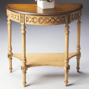 Butler Demilune Console Table - Pine and cream