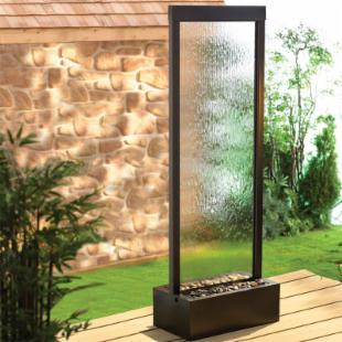 BluWorld Gardenfall Garden Water Fountain-Clear Glass/Dark Copper Frame
