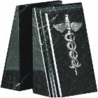  Black Marble Medical Caduceus Bookends