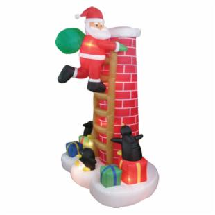 BZB Goods 8.5 Foot Inflatable Santa Claus Climbing Chimney