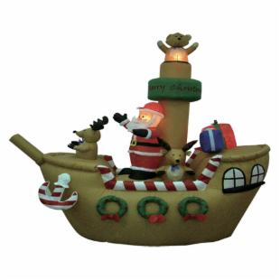 BZB Goods 8 Foot Inflatable Santa Claus on Pirate Ship