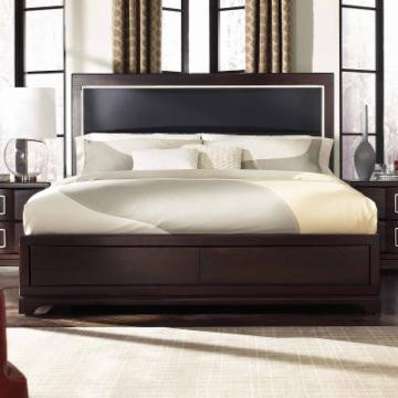 Brooke Upholstered Panel Bed Deep Coffee