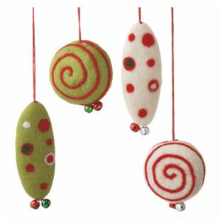 Midwest CBK Jolly Fun Felted Ornaments - Set of 4