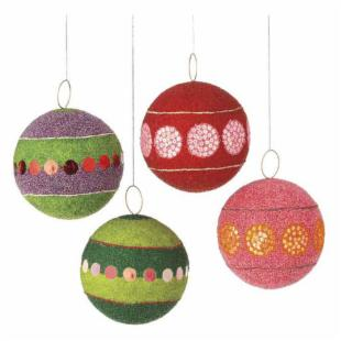 Midwest CBK Dazzle Holiday Beaded Ball Ornaments - Set of 4