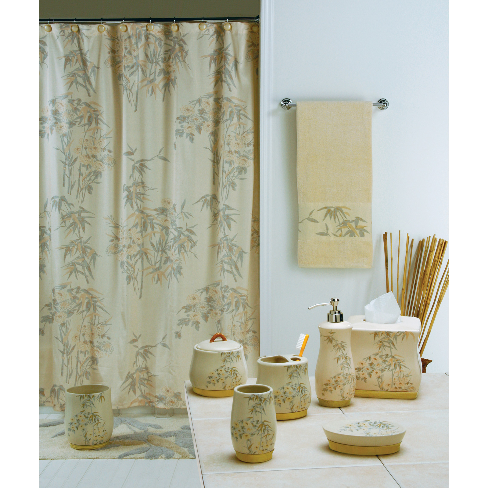 Nepal bamboo shower curtain at hayneedle for Bathroom designs in nepal