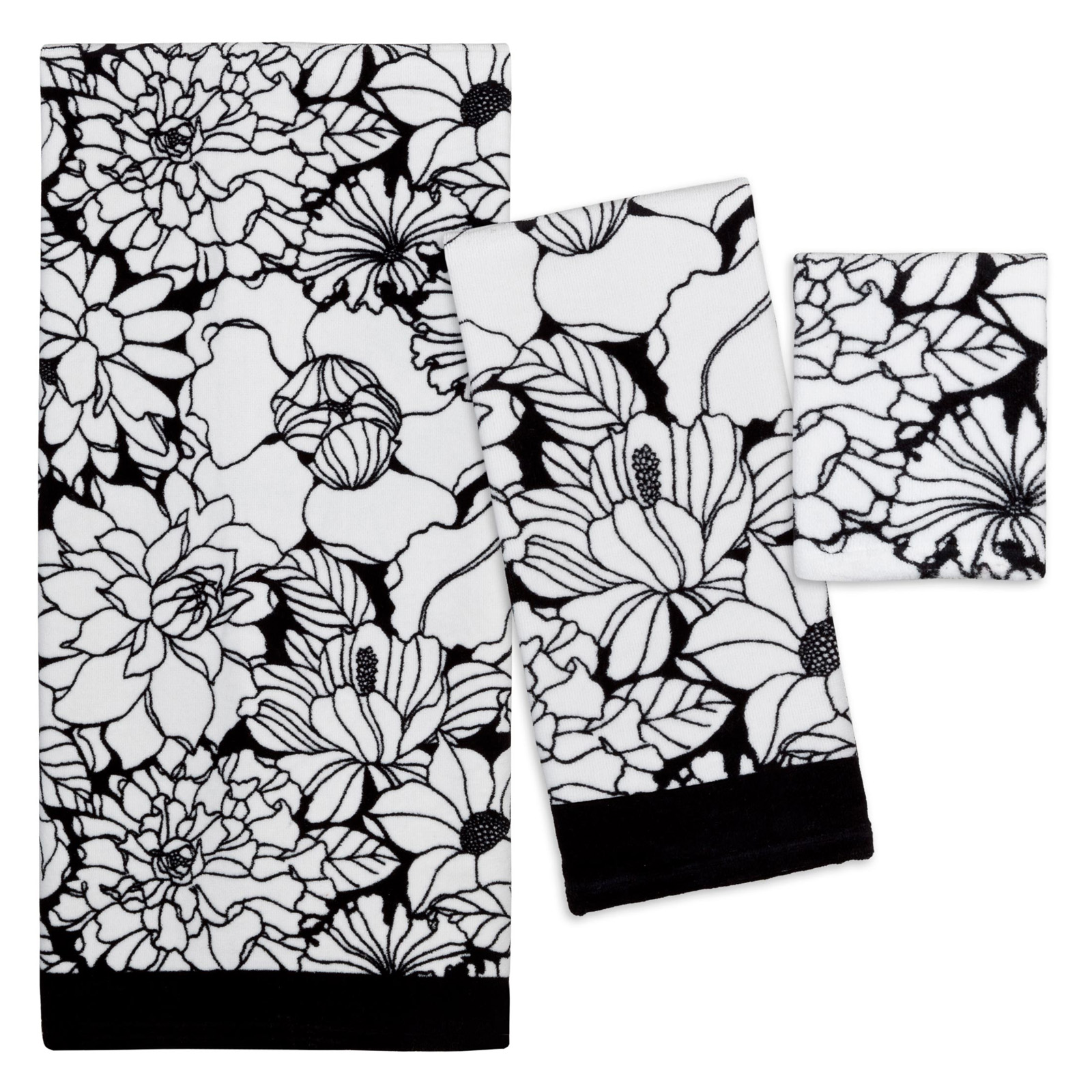 Black And White Bathroom Towel Sets: Creative Bath Black And White 100% Cotton 3 Piece Bath