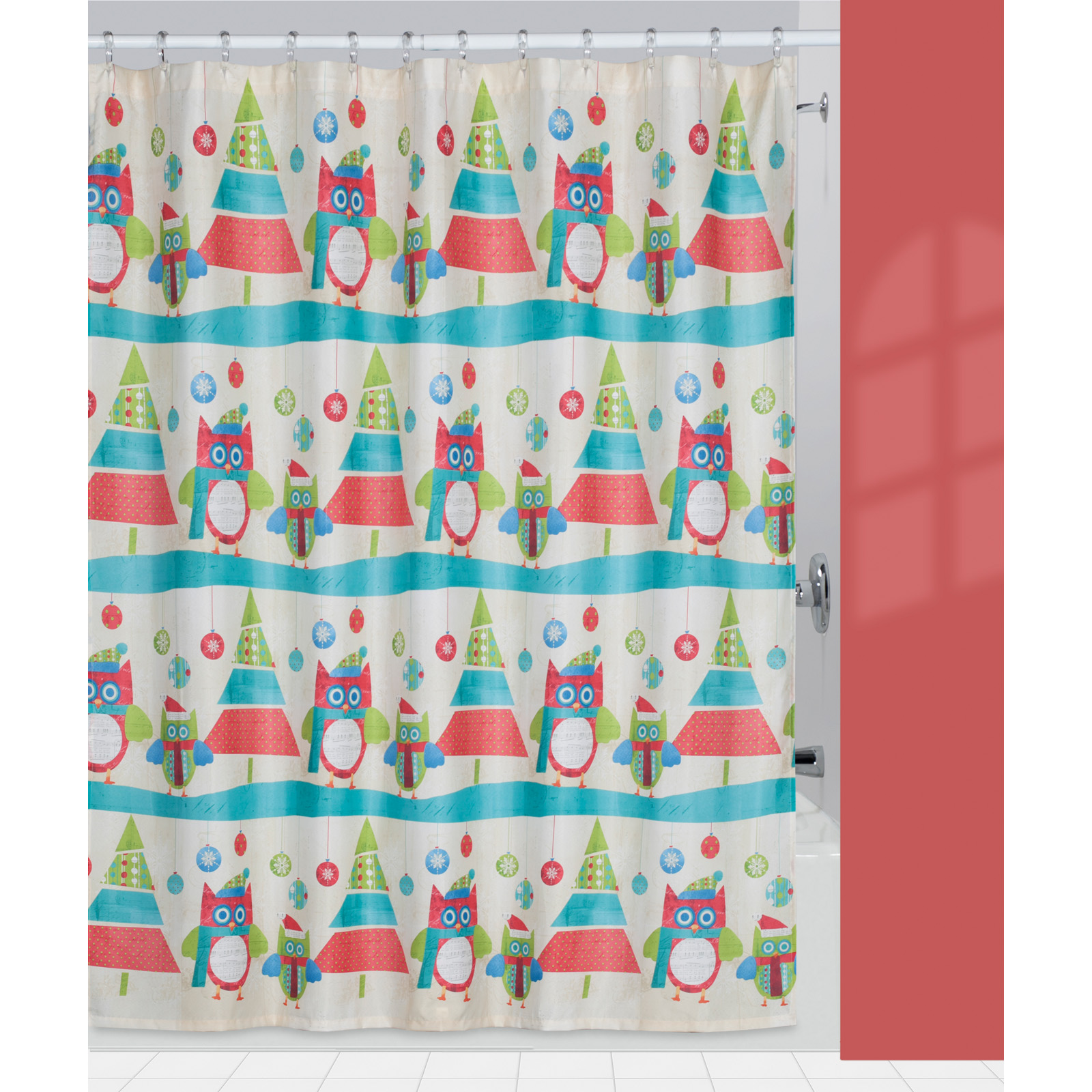 Creative Bath Christmas Owls Trees Fabric Shower Curtain Shower Curtains At Hayneedle