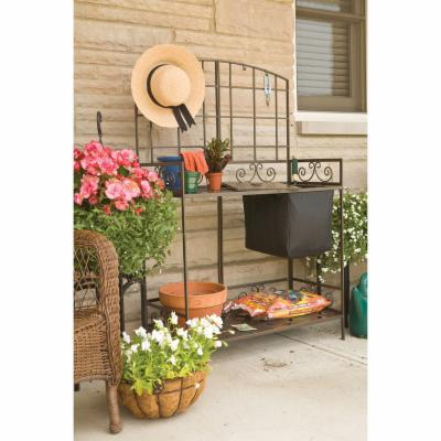 Panacea Bronze Metal Potting Bench with Soil Reservoir