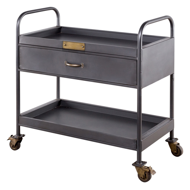 Industrial Kitchen Cart Bar Cart Serving Cart: Industrial 1-Drawer Bar Serving Cart