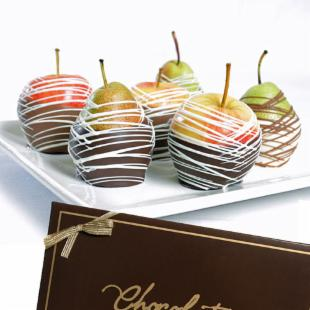 Gourmet Chocolate Dipped Apples &amp; Pears Gift Box