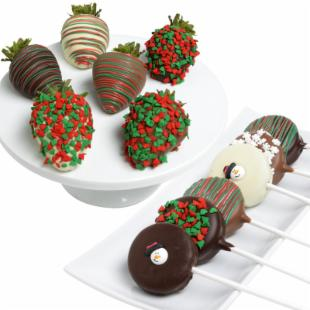 Incredible Berries Chocolate Covered Christmas Strawberries & Gourmet Chocolate Popcorn