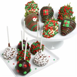 Incredible Berries Chocolate Covered Christmas Strawberries & Gourmet Chocolate Covered Pretzels