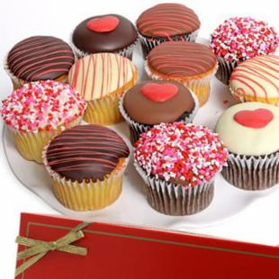Golden Edibles Love Cupcakes - Belgian Chocolate Covered with XOXO &amp; Love Sprinkles