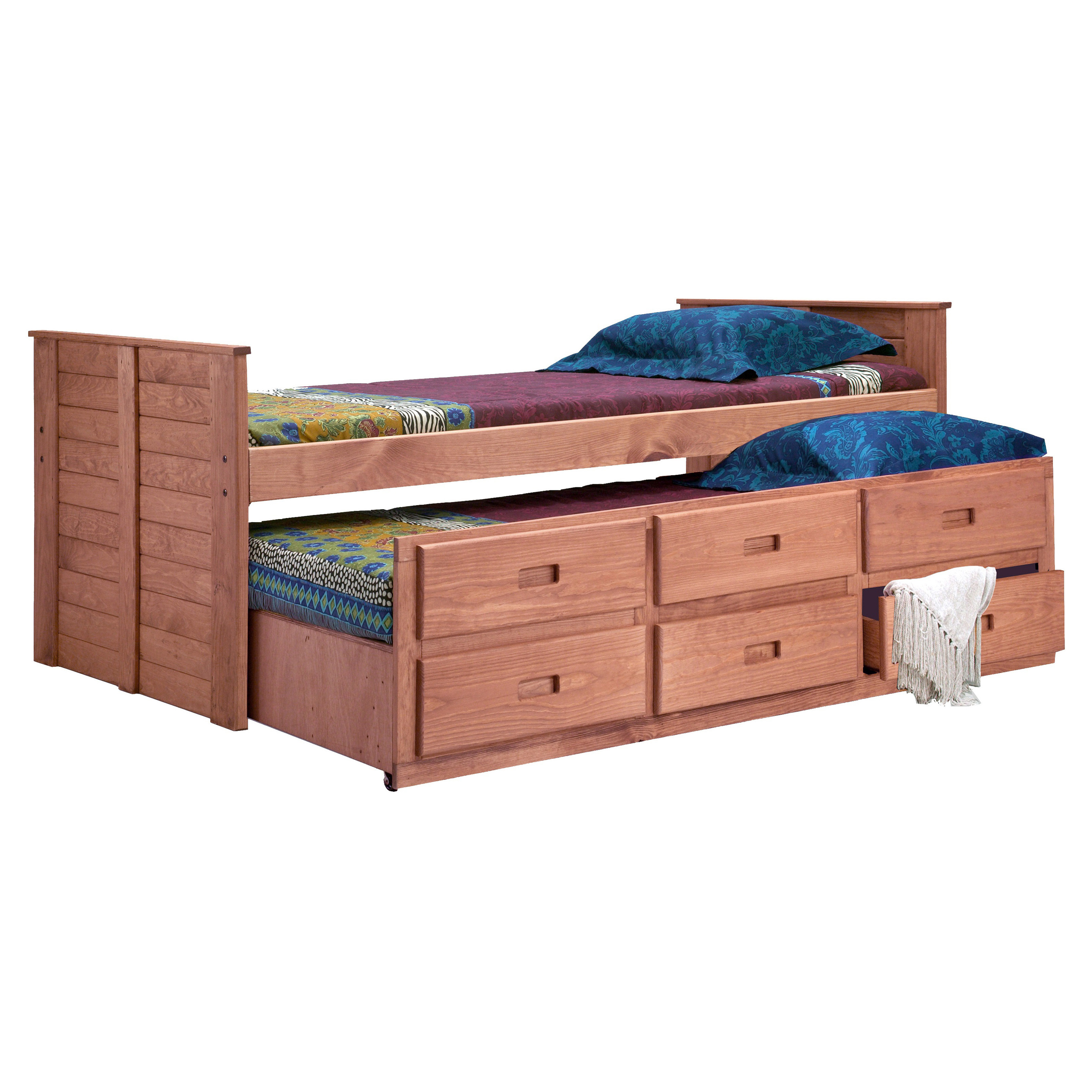 Chelsea Home Twin Captain Bed With Trundle Mahogany