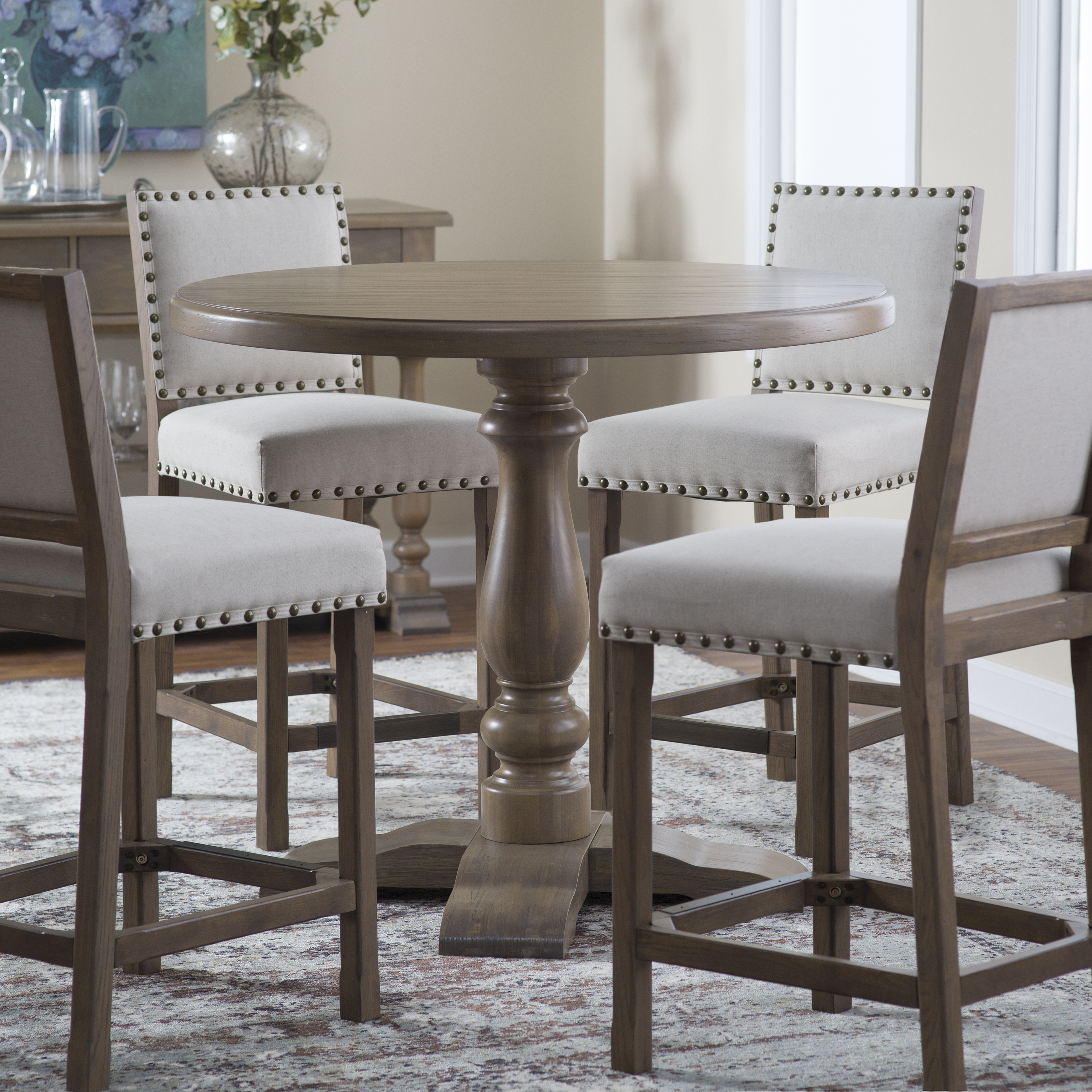 Belham living kennedy round counter height 42 in for Dining room tables 42 round
