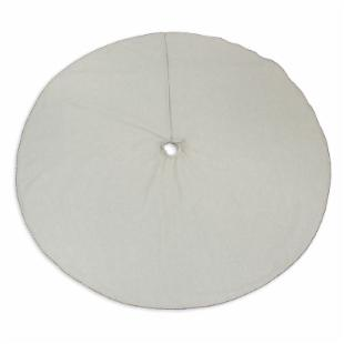 Chooty and Co Linen Natural Hemmed Tree Skirt 51 inches Round with Green Red and White Trim