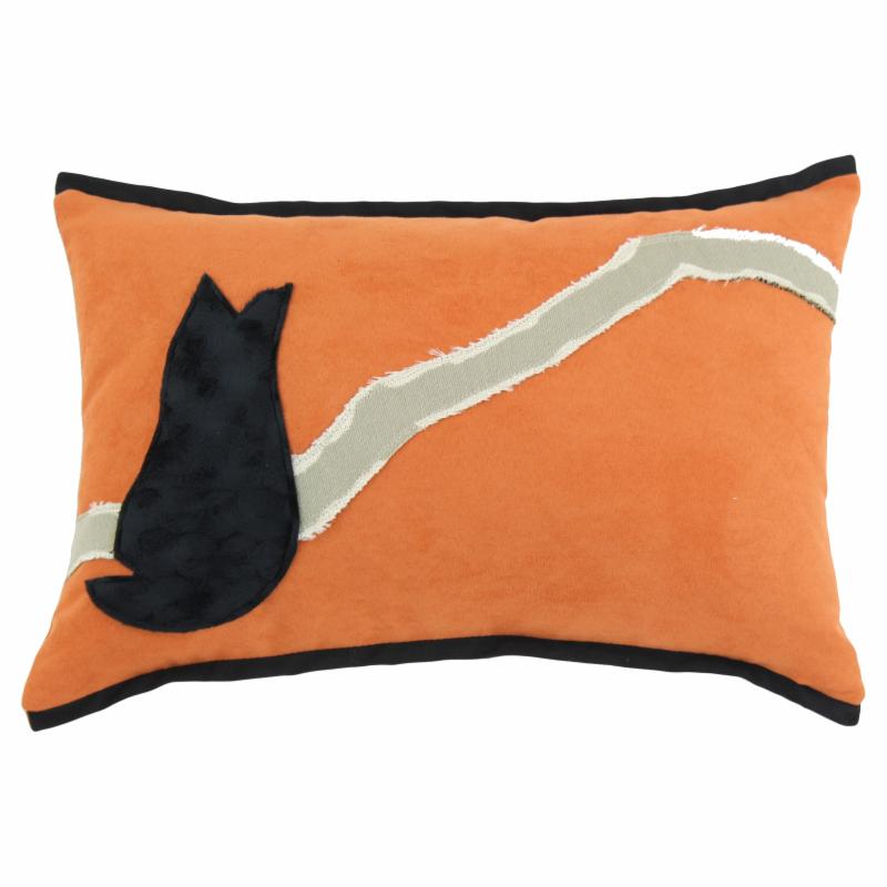 Chooty and Co Slam Dunk Tangerine with Black Vortex Cat Throw Pillow