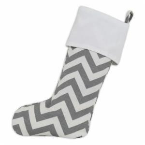 Brite Ideas Living Gray and White Chevron Christmas Stocking with Optional Personalization