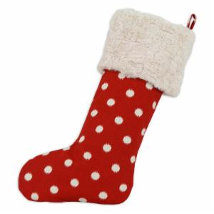 Brite Ideas Living Ikat Dot Red Lined Stocking