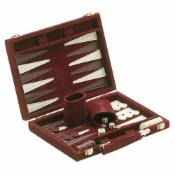 18in Burgundy Suede Backgammon Set