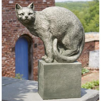 Campania International Shadow The Cat Perched Cast Stone Garden