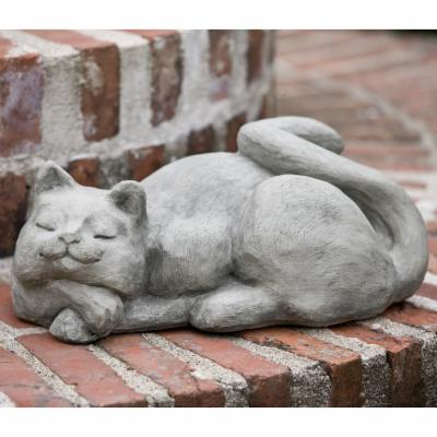 Campania International Complacent Cat Cast Stone Garden Statue Verde -
