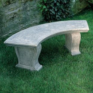 Campania International Curved Leaf Cast Stone Backless Garden Bench