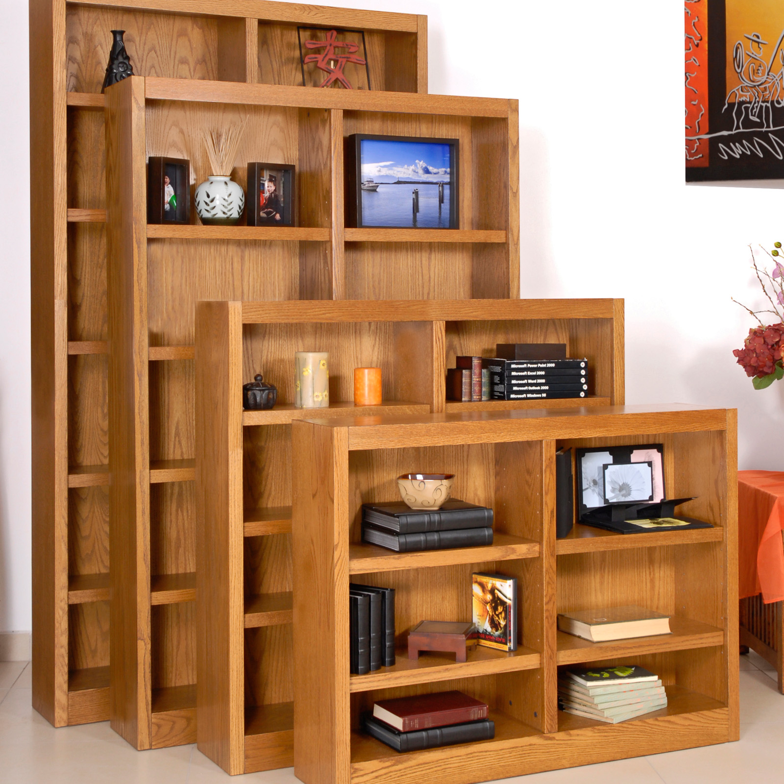 Concepts in wood double wide veneer bookcase red