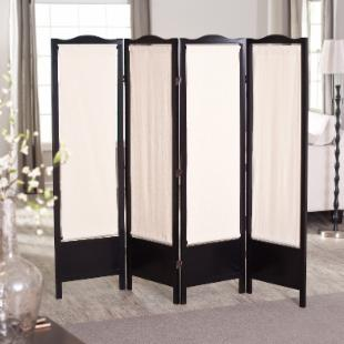 Brooks Canvas 4 Panel Room Divider - Black 