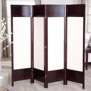 Griffin Canvas 4 Panel Room Divider - Rosewood