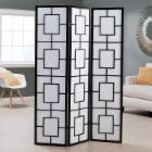  Black Lantern Silhouette 3-Panel Screen Room Divider