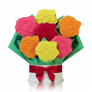 Corso&#39;s Cookies Rainbow Roses Cookie Bouquet