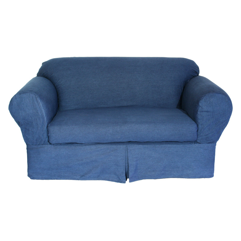 Classic slipcovers washed denim 2 pc slipcover sofa slipcovers at hayneedle Denim loveseat