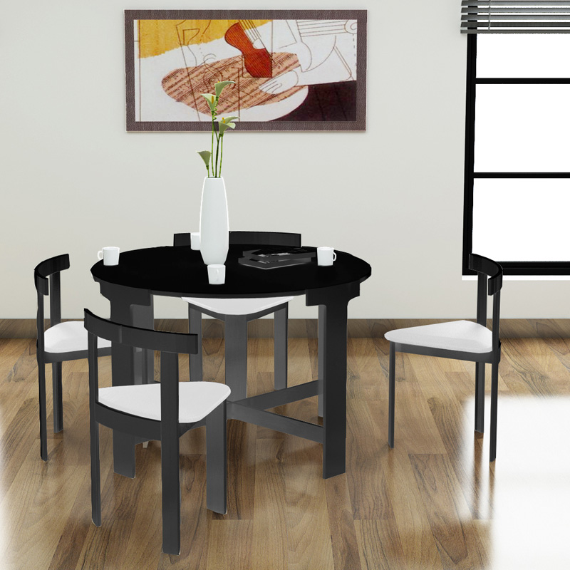 modern round 5 piece space saving dinette set black at hayneedle