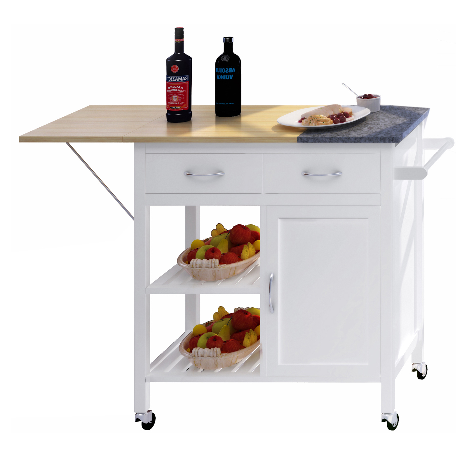 Kitchen Workstation Storage Cart with Wood Granite Counter