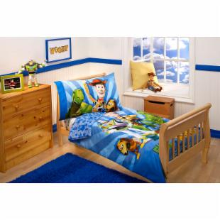 Disney Buzz and Woody and The Gang 4 pc Toddler Bedding Set