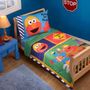 Sesame Street Construction Zone 4 pc Toddler Bedding Set