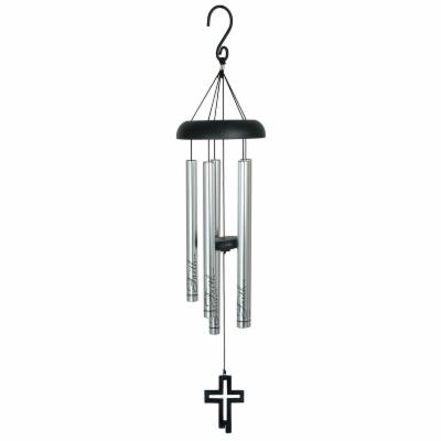 Carson 30 in. Eyevolver Faith Cross Fish Wind Chime