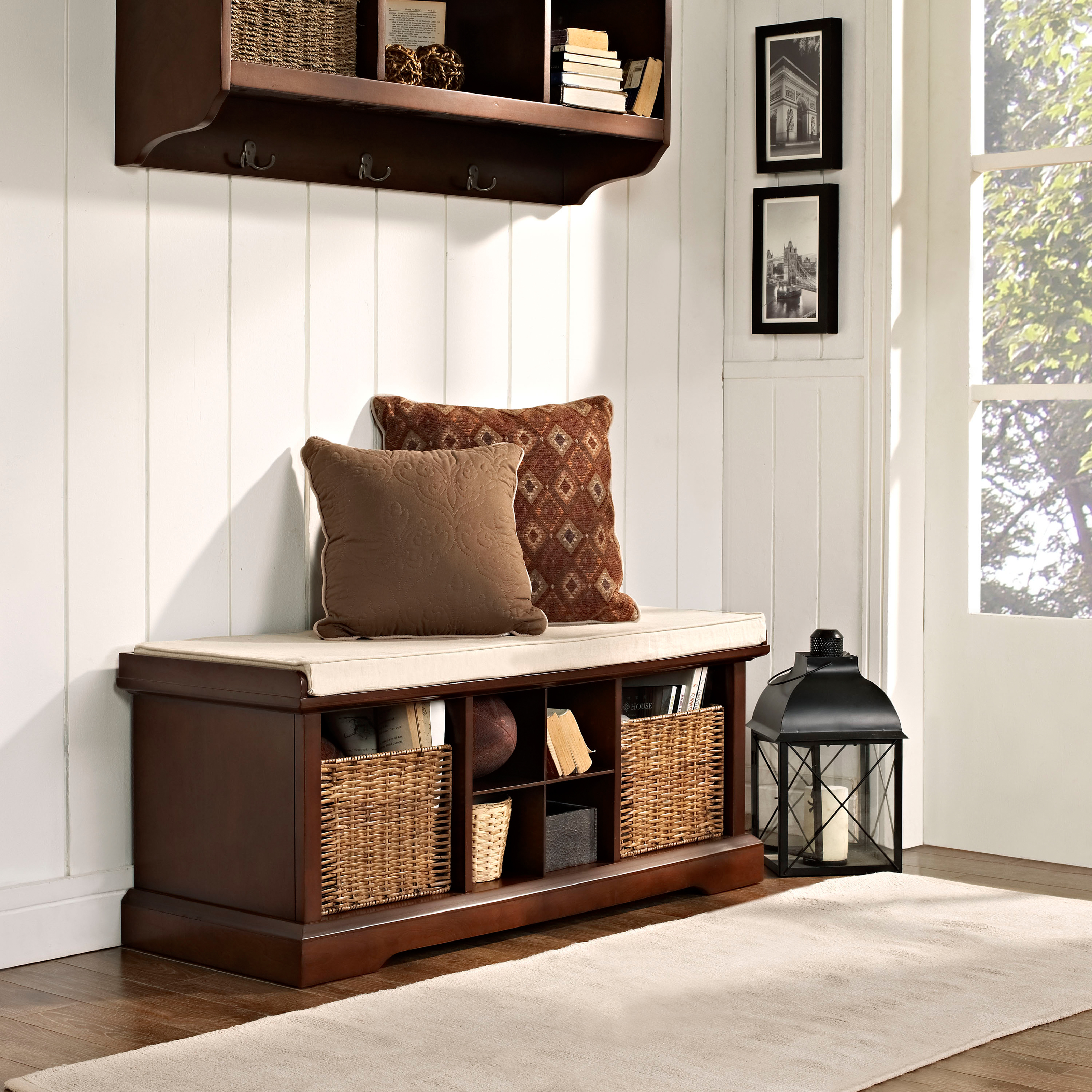 Crosley brennan entryway storage bench mahogany indoor for Decorating outdoor entryways