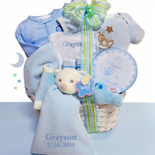 Boy Baby Bear Nap Time Baby Gift Basket - Personalized