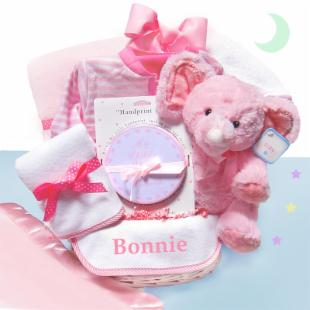 Minky Dots Pink Baby Gift Basket-Personalized