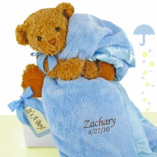 Cashmere Bunny Personalized Bear Essentials Gift Set - Little Boy Blue