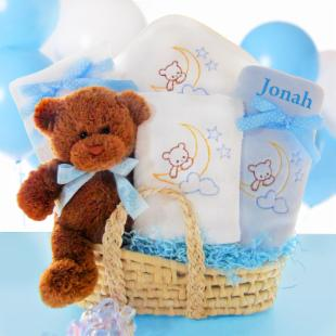 Cashmere Bunny Personalized Beary Special Arrival Moses Basket - Boy