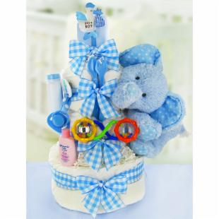 Gingham &amp; Giggles Three Tier Diaper Cake - Boy