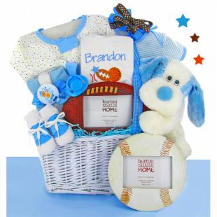 All Star Gift Basket with Sports Frame - Boy